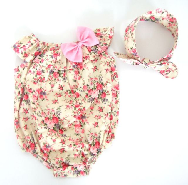 Floral Print Boho Bubble Romper Headband Shabby Chic Baby 1st Birthday Girls Outfit Clothing