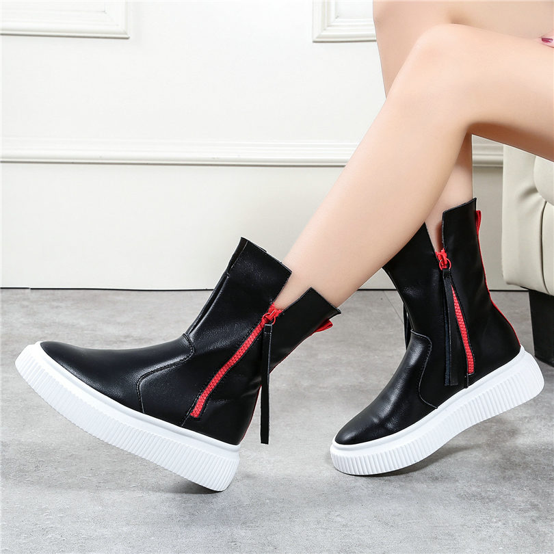 NAYIDUYUN Black White Women Genuine Leather High Heel Ankle Boots Casual Shoes Winter Warm Wedge Platform Pumps Punk Sneakers black white high heels punk rock women ankle boots casual pumps platform high heel shoes spring punk rock thick heel shoes
