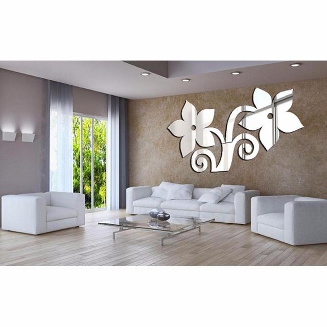 Arbres Stickers Muraux Creative Argent Miroir Sticker Bricolage Home