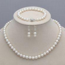 Prett Lovely Women's Wedding charm Jew.657 sets 7-8mm 8-9mm white pink freshwater pearl necklace bracelet earrings