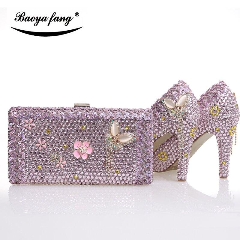 Nieuwe collectie Roze crystal womens bruiloft schoenen met bijpassende tassen real leather binnenzool Platform schoenen en portemonnee gratis verzending-in Damespumps van Schoenen op  Groep 1