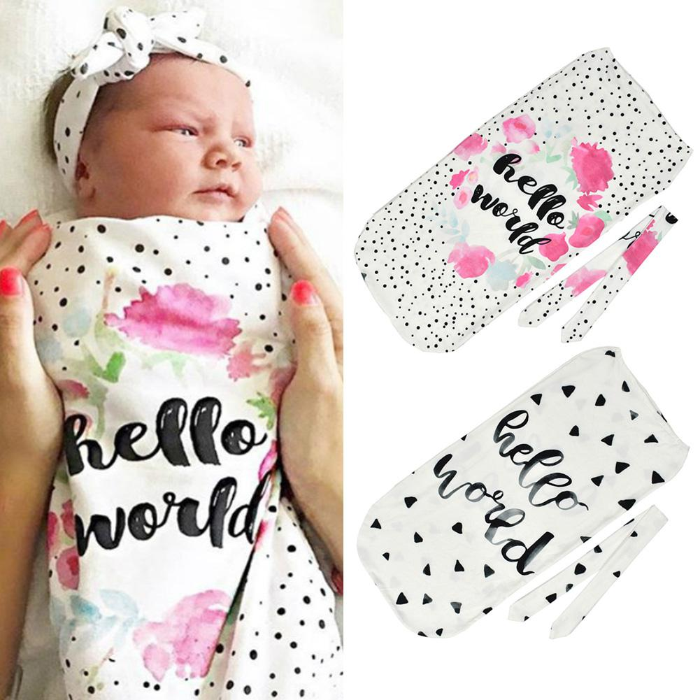 Kidlove Letter Print Cotton Sleeping Bag Newborn Anti-kick Breathable Soft Sleeping Bag With Knotted Head Band 2018 Autumn YI0