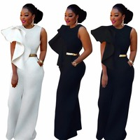 Elegant Big Ruffles Wide Leg Jumpsuits Women Sleeveless with Pockets Back Zipper Long Jumpsuit Plus Size Enteritos Mujer 3XL