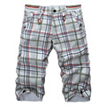Hot Sale Men's Casual cotton Slim Fit plaid Shorts men's Fashion beach Shorts plaid tide cool breathable Shorts