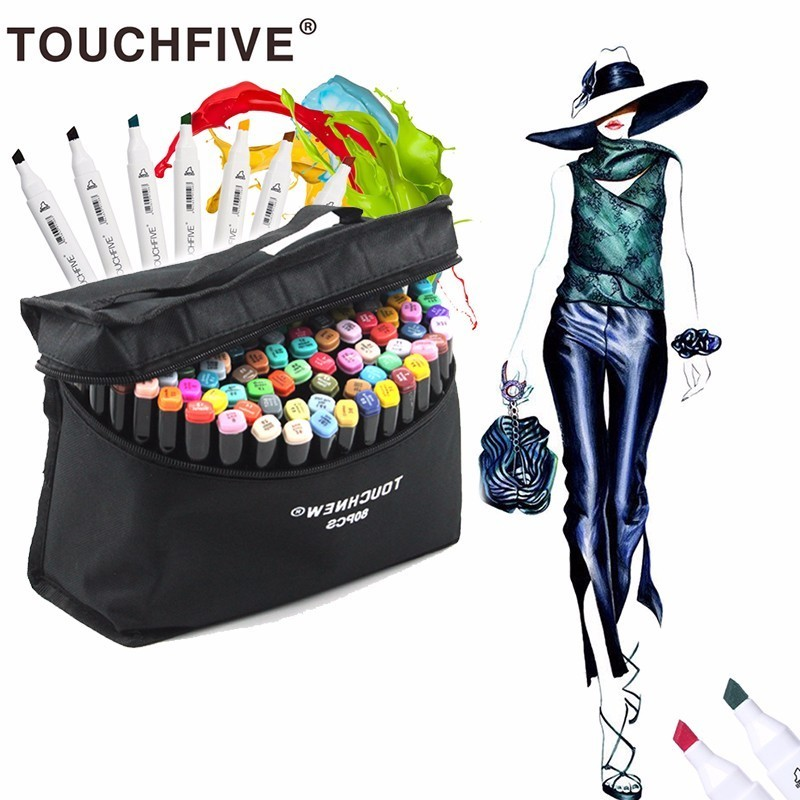 Touchnew Marker 30/40/60/80 Colo Artist Painting Manga Marker Set Best For Dual Headed Graffit Sketch Alcohol Based brush Marker touchnew 7th 30 40 60 80colors artist double headed sketch marker pen alcohol based manga art markers for school supplies