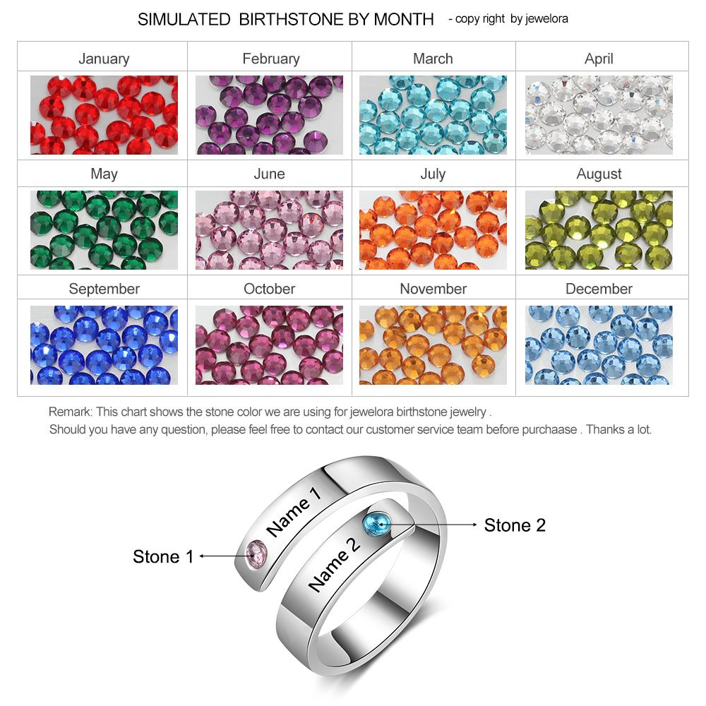 Birthstone Rings For Women Personalized Name Engraved Charm Diy