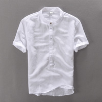 New High Quality Leisure Linen Shirts 2016 Summer Men Fashion Style Brand Short Sleeved Shirts Men