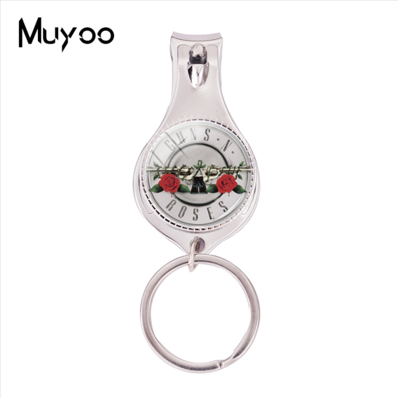 2018 Fashion Guns N Roses Logo Multifunctional Keychain Rock Band Nail Clipper Keyring Silver Glass Dome Jewelry Nail Clippers