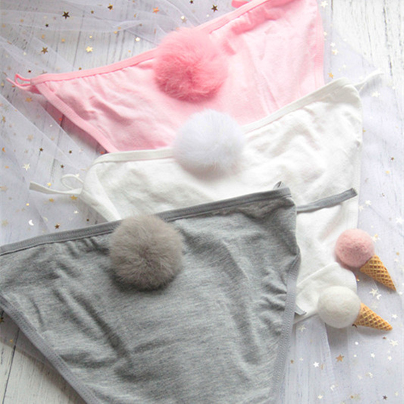 3 Colors Sexy Cute Women Side Tie Close Rabbit Tail Cotton Briefs Panties Female Seamless Underwear