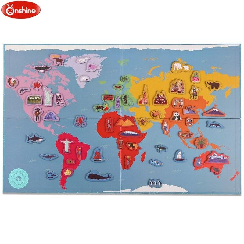 Mapa świata magnetyzm zestaw puzzli magnetyzm lodówka wklej dla rodziców i dzieci postrzegają zabawki edukacyjne 131 sztuk zestaw