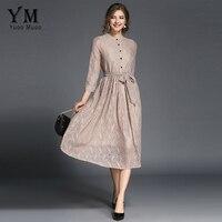 YuooMuoo New European Fashion Autumn Women Lace Dress Elegant Beauty A Line Shirt Dress With Belt