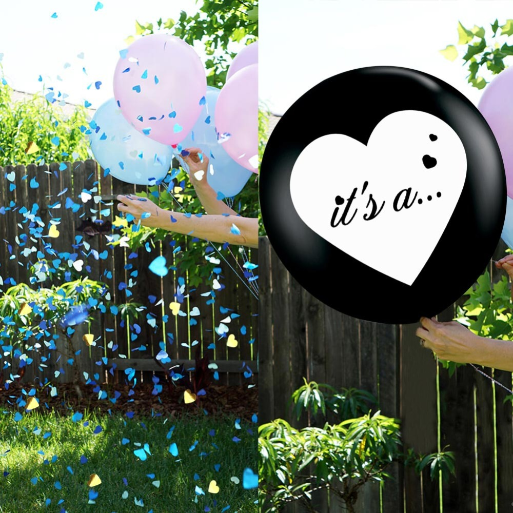 OurWarm 36inch Black Gender Reveal Balloon Boy or Girl Latex Balloon Baby Shower Decorations Balloon Pink Blue Confetti Supplies in Ballons Accessories from Home Garden