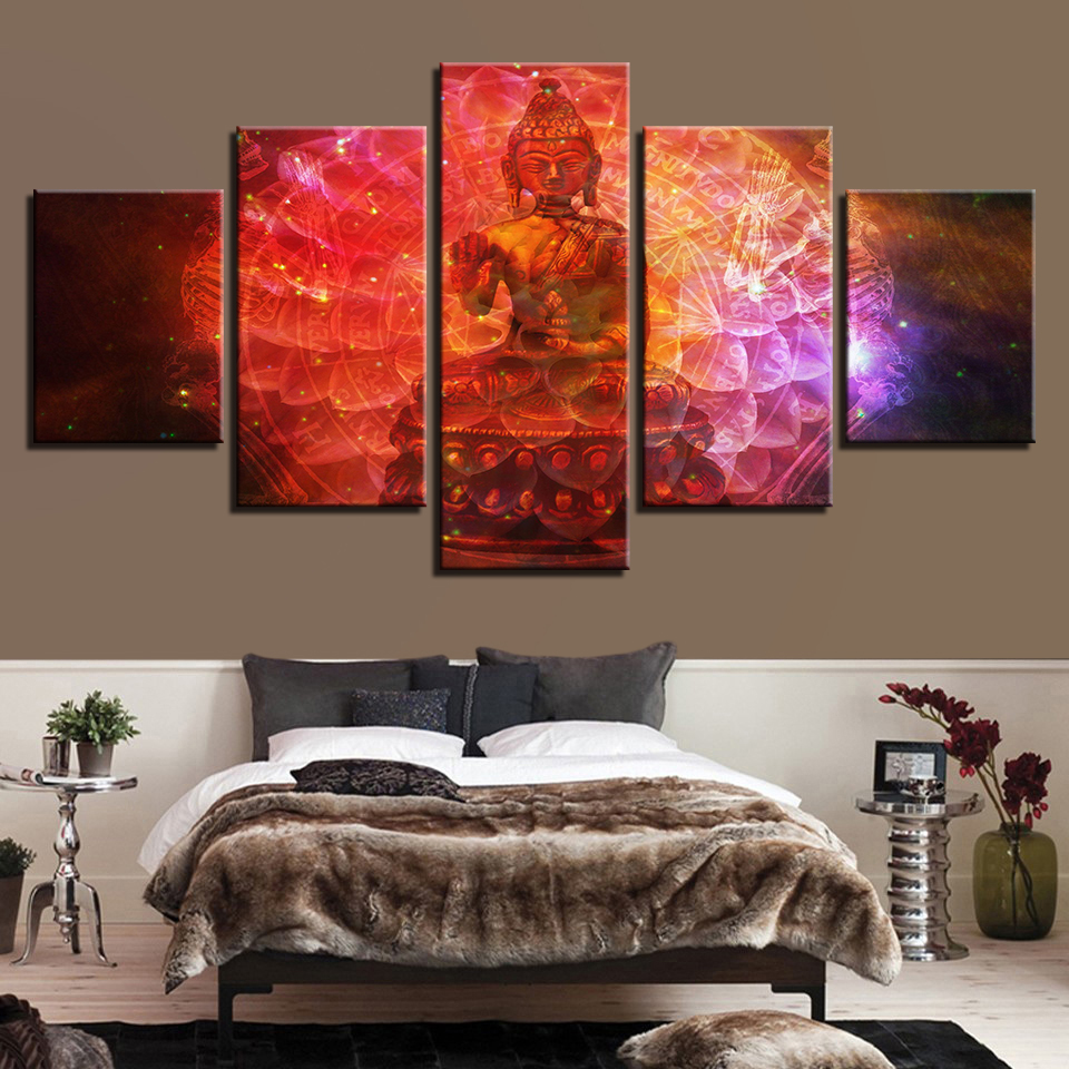 Type Poster Canvas Modern Printing Painting 5 Panel Buddha HD Wall Art Pictures Modular Portrait Artwork Vintage Home Decor