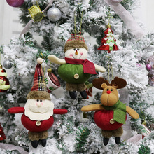 Christmas Decorations Plush Grid Santa Snowman Elk Doll Pendant Xmas Party Gift Tree Hanging Ornament for Home