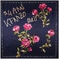 90 cm * 90 cm Nueva Moda Pañuelo Seda de Mujer de Palabras de la Letra y la Flor de Rose Impreso Bufandas de Seda Imitado mantón Hijab