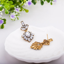 Gold Color Female Fashion Jewelry Flower Crystal Imitation Diamonds Earring Cubic Zirconia Rhinestone Ear For Women Lover Gifts