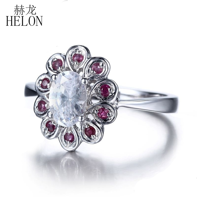 HELON Sterling Silver 925 Exquisite Women's Jewelry Oval Shape 6x4mm White Topaz Ring Genuine Ruby Engagement Wedding Ring
