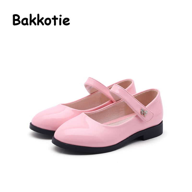 Bakkotie 2018 Spring New Fashion Baby Girl Patent Leather Bow Shoe Child Casual Princess Flat kid Sweet Brand Party Mary Jane