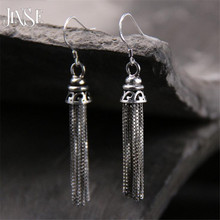 Vintage Earings Fashion Women Jewelry Big Drop Antique Silver S925 Pure Tassel Ethnic Dangle Costume Earring 8*34mm