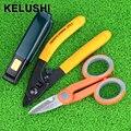KELUSHI 3 en 1 herramienta de striper coleta de fibra óptica Pixian Fibra pelar y kevlar tijeras y doble agujero alicates miller