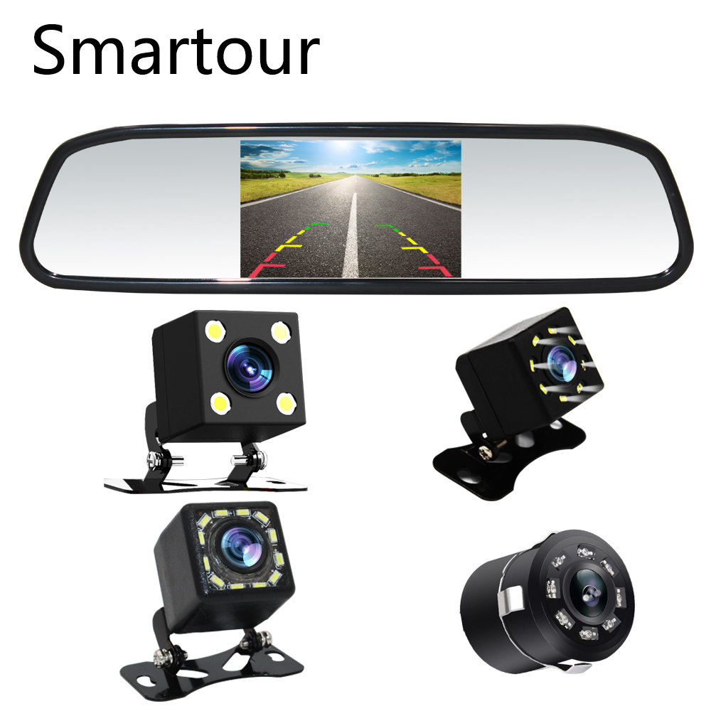 Smartour 4.3 Car Rearview Mirror Monitor Auto Parking System + LED Night Vision Backup Reverse Camera CCD Car Rear View Camera hot selling ccd camera ntsc system night vision car reverse rear view backup camera for hyundai ix35 camera promotion