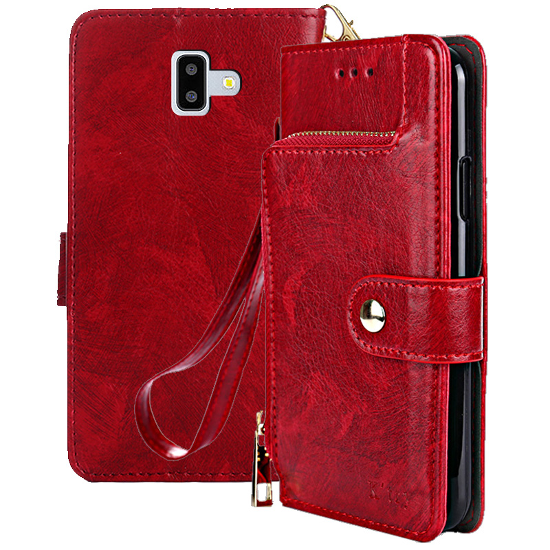 J6 Prime Case Flip PU Leather Wallet Stand Case for Samsung Galaxy J6+ J6 Plus Card Slot Case Back Cover Coin Purse 6.0 inch