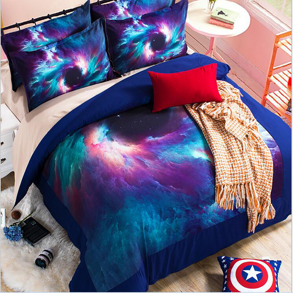 Galaxy bedding sets 3 sizes universe outer space starry for Outer space bedding