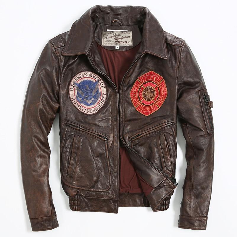 Avirex fly vintage badge leather bomber jacket men pattern flight jacket motorcycle genuine lether jacket men brown leather coat sweatshirt