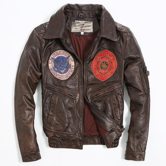 e7ab6a962f7de Avirex volar vintage placa chaqueta bomber de cuero hombres patrón de vuelo  chaqueta de cuero de