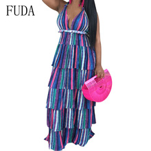 FUDA Sexy Deep V-neck Vertical Stripes Cupcake Dress Blue Open Back Sleeveless Summer Casual Boho Beach Club Plus Size XXL