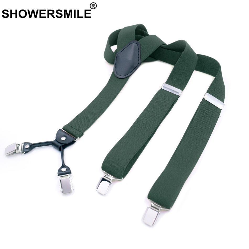 SHOWERSMILE Green Suspenders Men Clips 4 Vintage Pants Strap Y Back Retro Elastic Candy Color Solid Mens Suspenders For Trousers