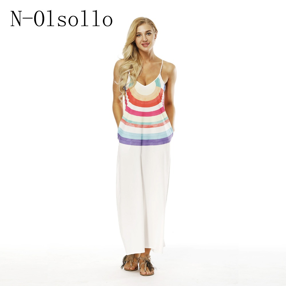 N-olsollo Fashion Rainbow 3D Printed Summer Dress Befree Vestidos Verano 2018 Maxi Dress Spaghetti Strap Sexy Sleeveless Dresses