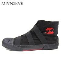 MIVNSKVE Nice New Classic Men Canvas Shoes Black Grey Men Casual Shoes Lace UP Solid Men