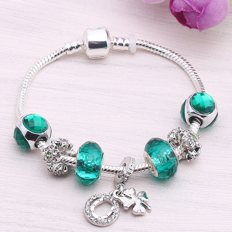 Valentines Day Gift Silver Plated Hope Clover Pendant Daisy Spacer Green Beads Women Charm Pandora Bracelet For Women Jewelry