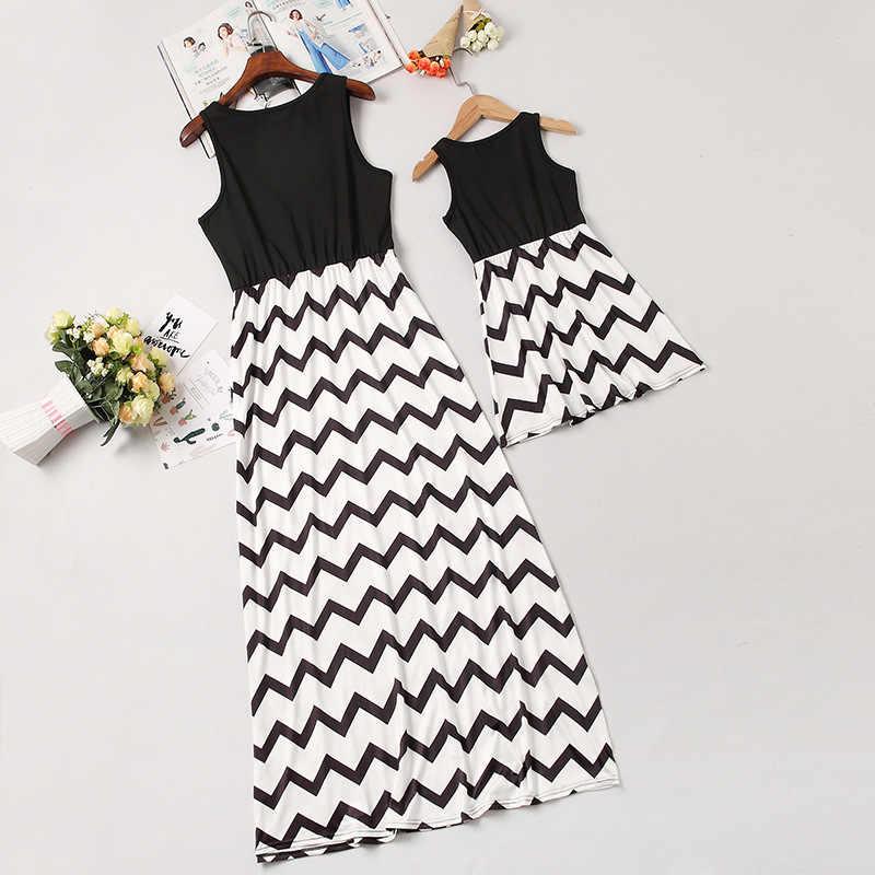 Mẹ Con Gái Vest Dresses Mẹ và Tôi Quần Áo Gia Đình Phù Hợp Với Trang Phục Cái Nhìn Mẹ Mẹ Mẹ và Con Gái Mùa Hè Ăn Mặc Quần Áo