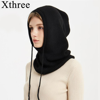 Xthree Cashmere Winter Knitted Hat Beanie Women Scarf Skullies Beanies Hats For Men Cap Solid Bonnet Mask Brand
