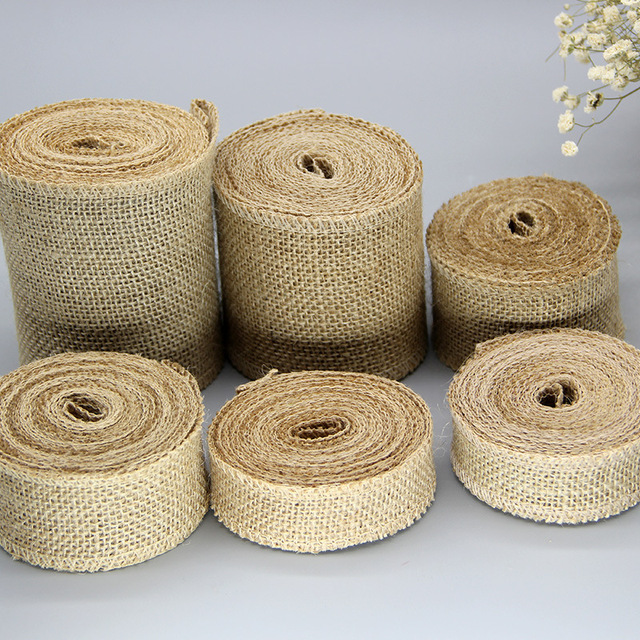 2 Meters Jute Burlap Hessian Rolls Rustic Vintage DIY Ornament Home Decor Birthday Wedding Party Christmas Decoration