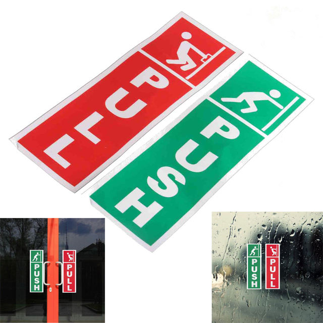Green Push And Red Pull Door Window Vinyl Stickers Information Warning Signs