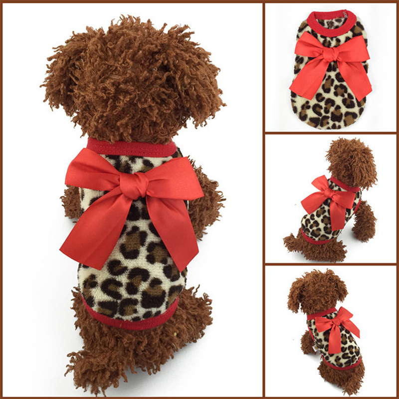 Size XXXS / XXS / XS / S 1Pcs New Red / Pink Bow-knot Leopard Coral Velvet Warm Winter Baby Pet Dogs Clothing Puppy Sweaters