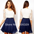 Womens Girl's O Neck Half Sleeve Lace Patchwork Chiffon Mini Dress Belt Included Sashes