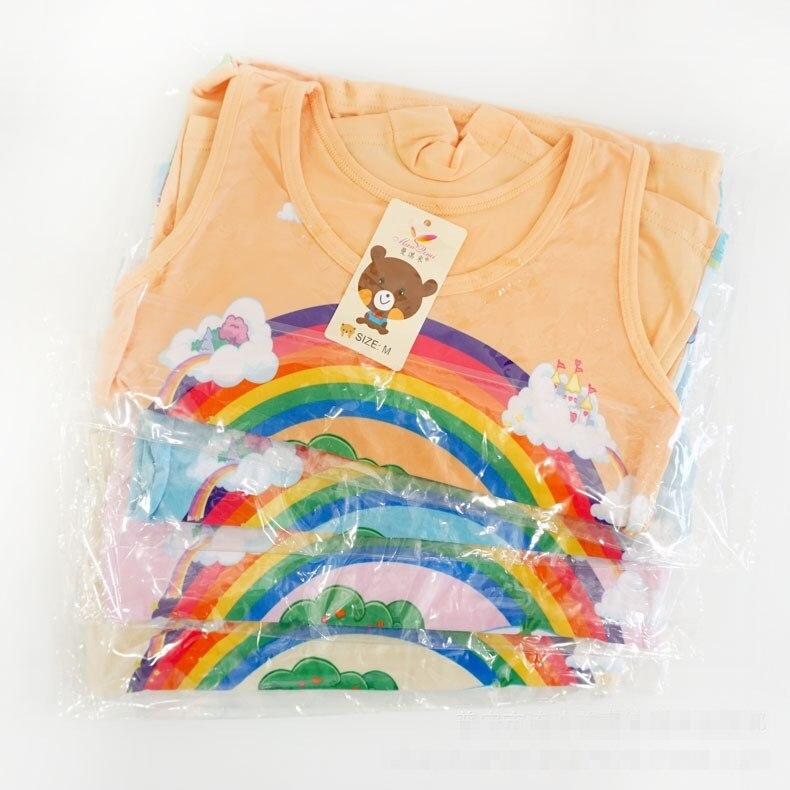 1set summer Children girl   Pajama     Sets   Casual girl Bamboo fiber vest + short Pants 5color randomly TZ07