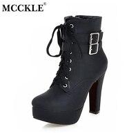 MCCKLE Vrouwen Mode Hoge Hakken Lace Up Enkellaarsjes Vrouwelijke Zip Dubbele Gesp Sexy Feestjurk Pomp Vrouw Platform Schoenen