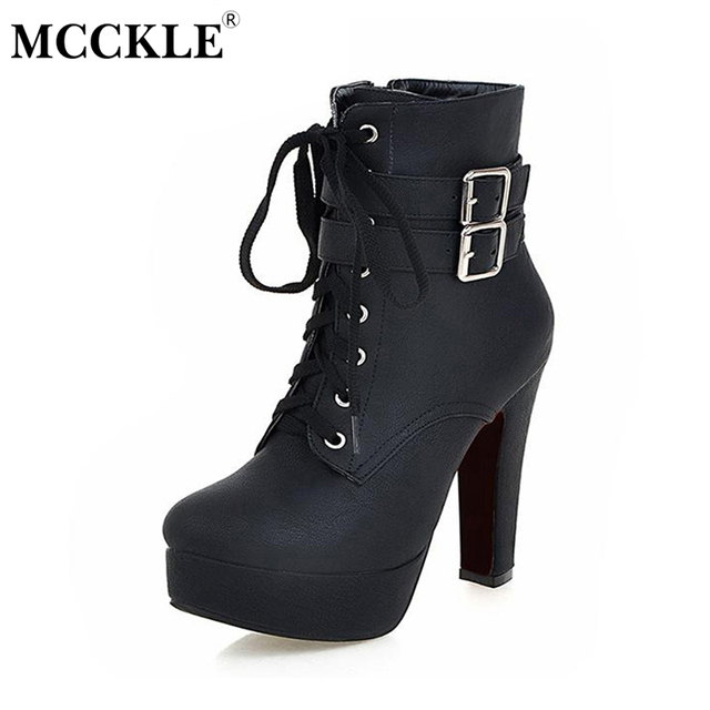 Women's Fashion Lace Zipper Ankle Strap High Heel Ankle Boots