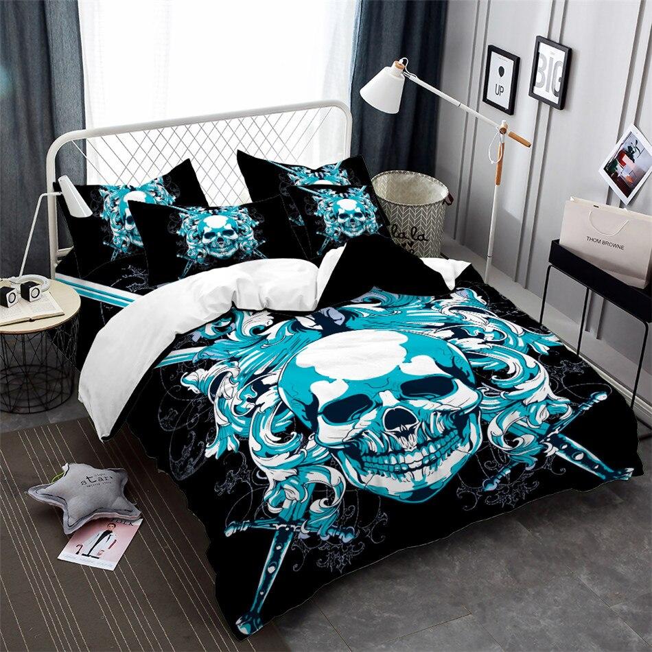 Halloween bleu crâne avec épées ensemble de literie roi reine housse de couette taie d'oreiller housse de couette doux literie ensemble de lit 3 pièces