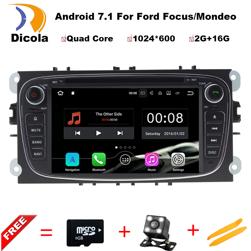 Steering Wheel 2Din For Ford Focus Mondeo font b Car b font DVD Multimedia Player Android