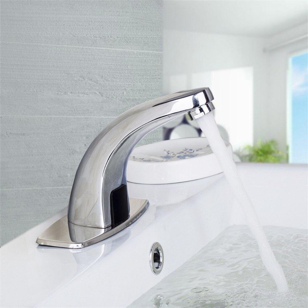 Deck Mounted Bathroom Faucet Polished Chrome Bathroom Cold Hot Faucet Automatic Sensor Basin Sink Mixer Tap automatic sensor faucet 89006 bathroom basin sink faucet hot