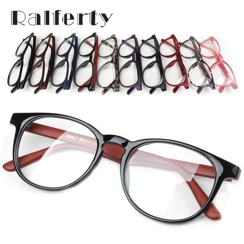 Ralferty Unisex Vintage Round Eye Glasses With Clear Lens, Women Men Plain Mirror Prescription Myopia Optic Frame Eyeglasses