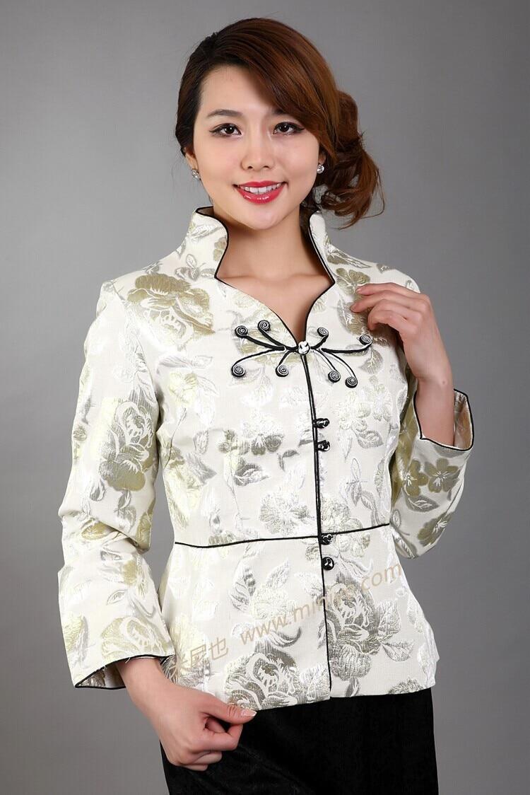 Red vintage estilo chino de las mujeres de seda satinada capa de la chaqueta larga mangas de flores tamaño sml xl xxl xxxl envío libre gratis