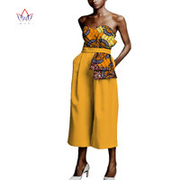 Jumpsuit Africa Style Boot Cut Bodysuit for Women Dashiki Ankle Length Africa Print Romper Elegant Africa Clothing WY3951
