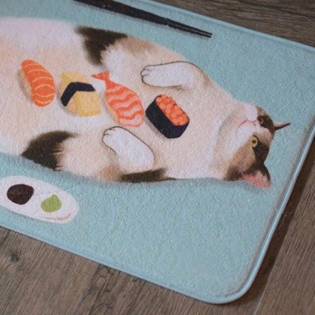 Cute Sushi Cat Plush Rug Doormat Cartoon Small Carpet Non Slip